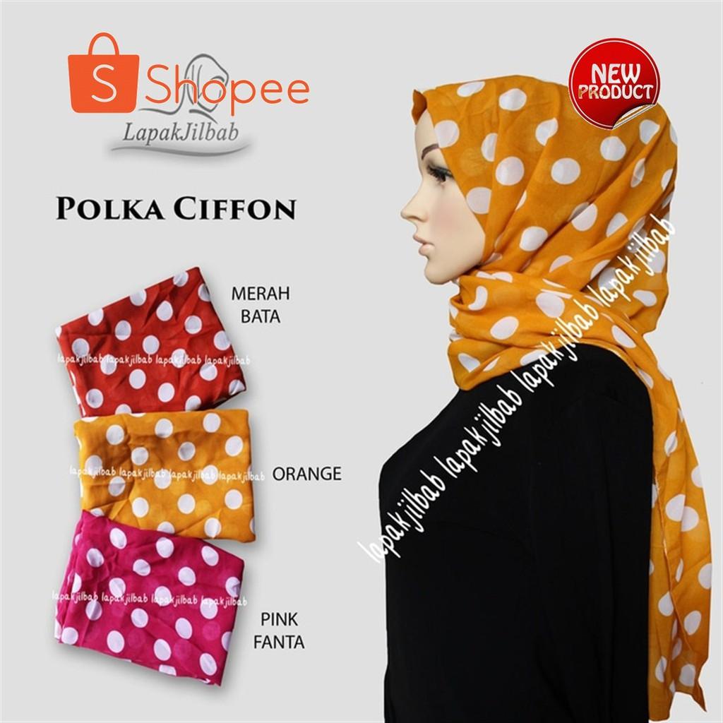 Desain Hijab Pasmina Terbaru Polka Ciffon Bahan Halus