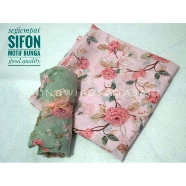 Jilbab Segiempat motif bunga sifon