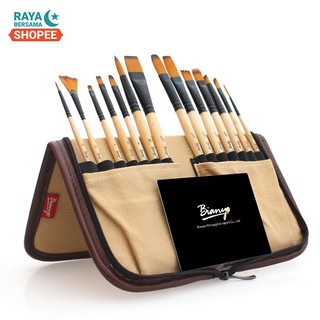 Seamiart_14PCS Nylon Hair & Wooden Handle Acrylic Painting Brush Set