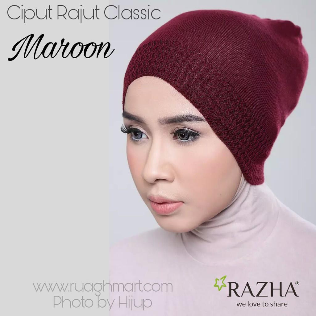 Ciput Rajut Classic Maroon Razha