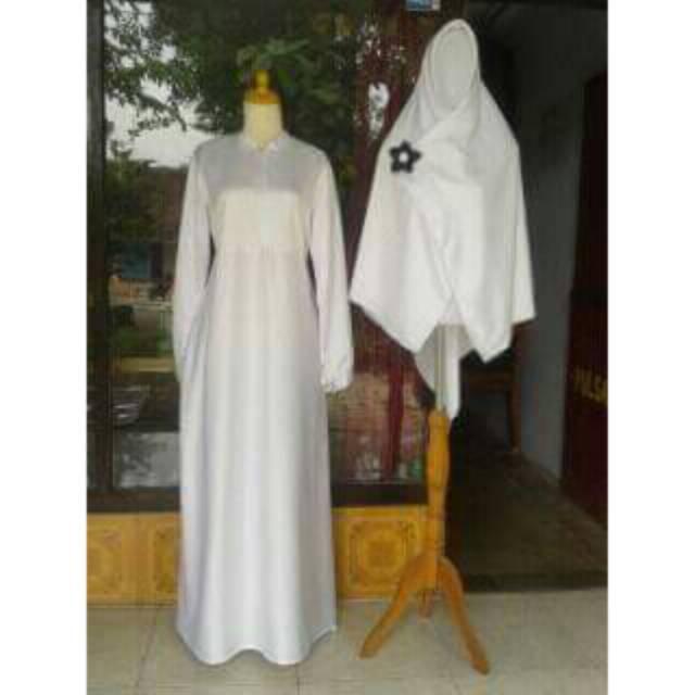 Set gamis Putih Jilbab segiempat 130×130
