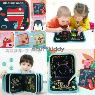 Buku Gambar Portable Magic Bisa Dihapus Free Pena Warna dan Tisu Basah Blackboard Doodle Magic Book