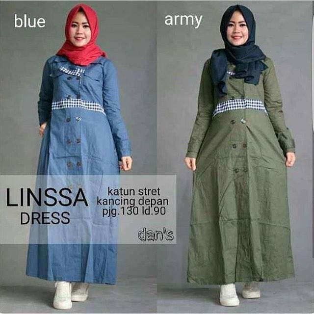 FD1973 Linssa dres / gamis murah pusat grosir baju muslim wanita suplier bdg