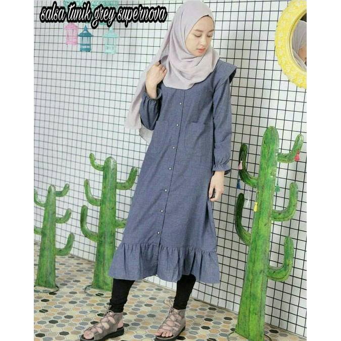 FF1701 Pakaian wanita tunik : Salsa Tunik grey