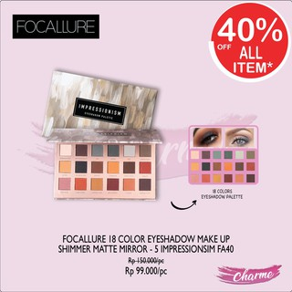 (READY & ORI!) New Focallure Impressionism 18 Colors Eyeshadow Pallete With Mirror FA40-5 FA 40