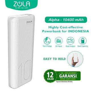 Powerbank ZOLA Alpha 10400mAh Fast Charging 2.1A Dua Output- White/Black