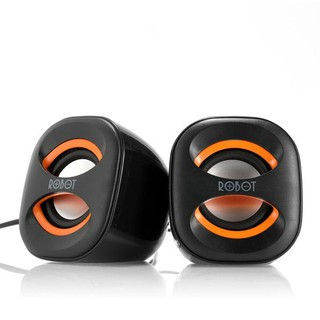 SPEAKER MINI ROBOT MULTIMEDIA RS160 HITAM + ORANGE