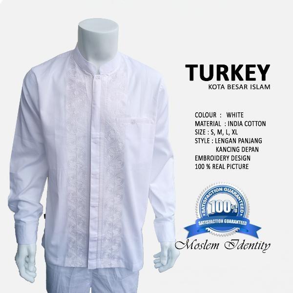 TERAKHIR Baju Muslim & Baju Koko Putih lengan panjang S Turkey
