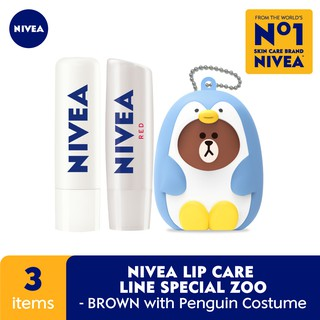 Nivea Lip Care Line Special Zoo Edition - Brown With Pinguin Costume