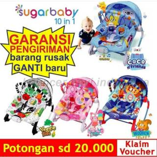 BANDUNG Bouncher bayi SugarBaby Premium Rocking 10 In 1, ayunan Bayi  Bouncer Bayi Sugarbaby