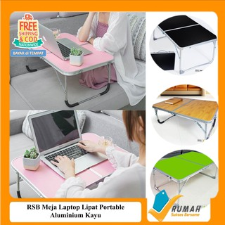 RSB Meja Laptop Lipat Portable Aluminium Kayu 62x42x27cm/ Simple Folding Notebook Table High Quality