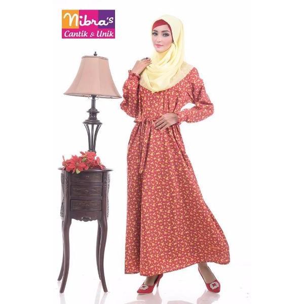EKSLUSIF Baju Gamis Modern Murah Nibras NS 12B Merah (ORIGINAL) Grosir Baju Syari
