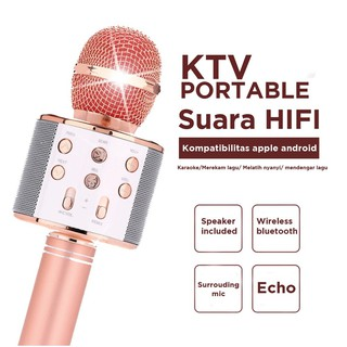 WS858 WS-858 PORTABLE BLUETOOTH WIRELESS MICROPHONE SPEAKER KARAOKE KTV MIC KARAOKE IMPOR
