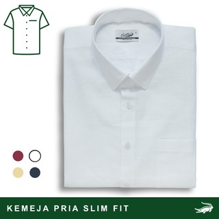 Crocodile LINE Black/ Burgundy/ Mellow/ White - Men Shirt Kemeja Lengan Pendek - Slim Fit