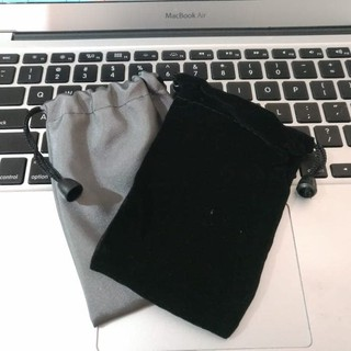 Earphone Pouch Tempat Dompet Black Kain Flanel and Waterproof Gray