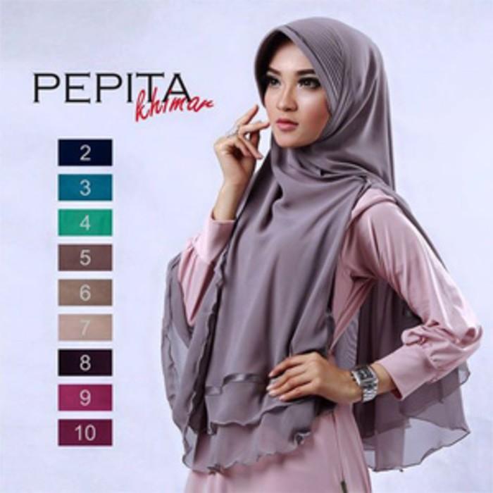 Desain Hijab Kerudung Terbaru Pepita Khimar Pepita Jlb11 Bahan Halus