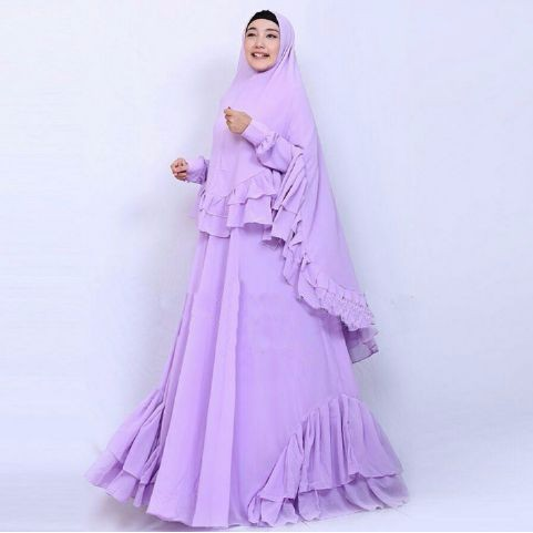 [Syari Salwa Lavender Sw] Pakaian Muslim Wanita Jersey Ungu