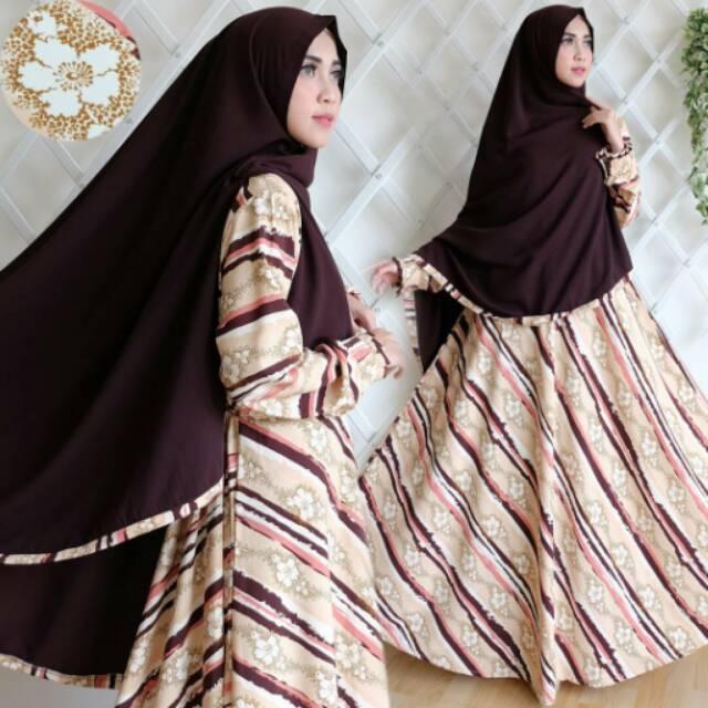 BROWN Set Khimar Gamis Syari Katun Kosibo Salur Bunga Resleting Depan Baju Busana Muslimah