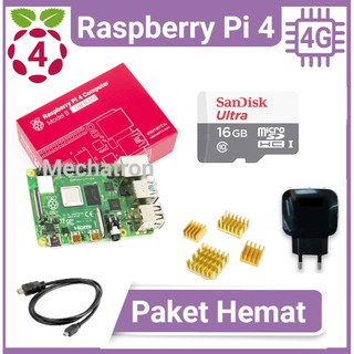 Raspberry Pi 4 model B 4GB Paket Hemat Siap Pakai Made in UK Pi4 Pi4B