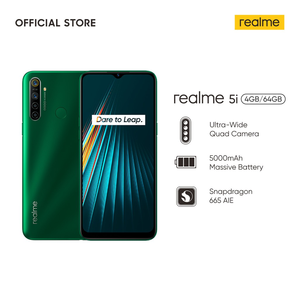 realme 5i 4/64GB [5000mAh Massive Battery, 24MP AI Quad Camera, Snapdragon 665 AIE, Dual SIM Card] #0