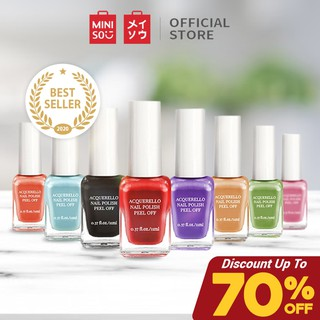 Miniso Official Kutek Peel Off Acquerello Peel Off Nail Polish Tahan Lama Assorted Colours 11ML