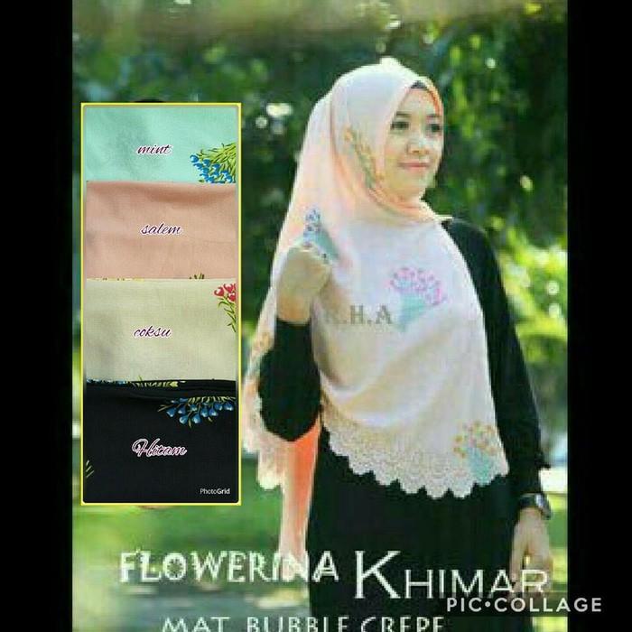 Desain Hijab Kerudung Terbaru Flowerina Khimar Laser Jlb11 Warna Menarik