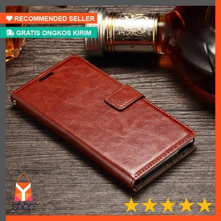 HOT PRODUK ! LEATHER FLIP COVER WALLET Sony Xperia M5 Aqua Dual case casing dompet