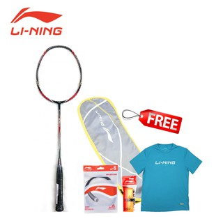 Li-Ning Badminton Racket Turbo X90 II Black/Grey-AYPM088-4 FREE 1 Zipper Bag, Grip, String, T-Shirt