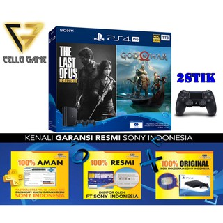 tcwl44 PS4 PRO 1TB BUNDLE 2 GAMELAST OF US+GOD OF WAR + 2 STIK WIRELESS ORI