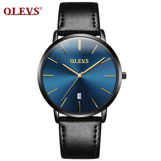 OLEVS Jam Tangan Pria Analog tahan air Watches Water Resistant Sports Leather Watch Quartz Male