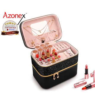 Tas Kosmetik Tempat Make Up Beauty Case  Kotak Perhiasan Storage Box Organizer Shiny Azonex