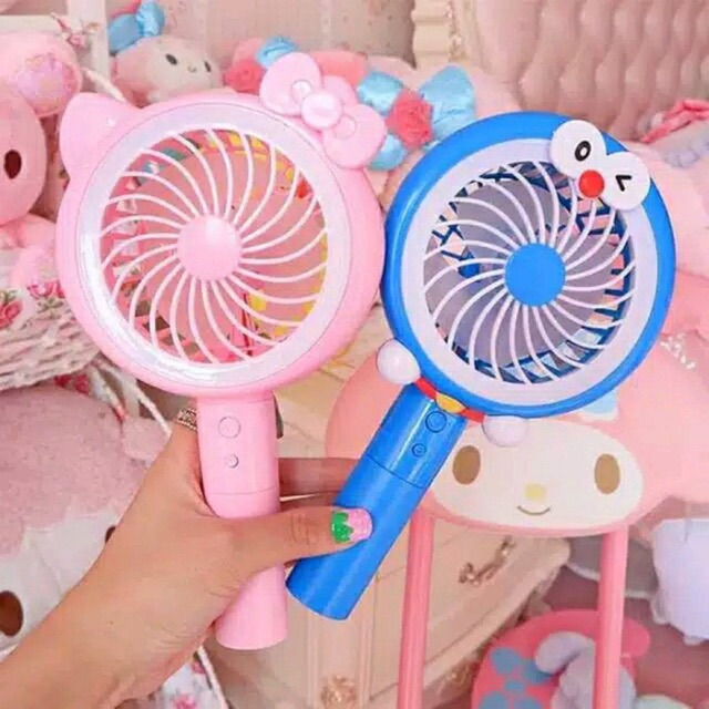 Kipas USB Minifan LED Doraemon Hello Kitty / Kipas Tangan Mini Fan Portable / Kipas Angin Mickey