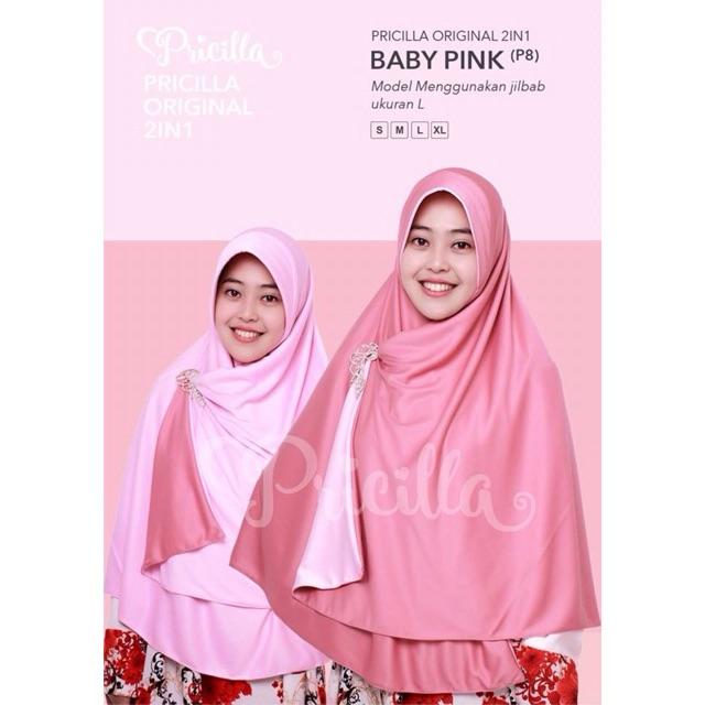 Jilbab Bolak Balik 2 Warna Pricilla (Baby Pink)
