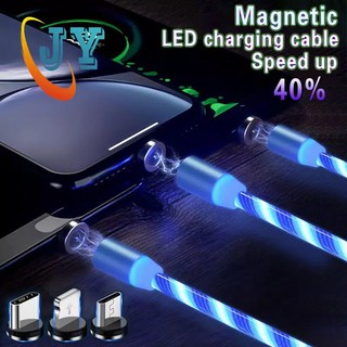 Magnetic Cable 3in1 LED Stream Color RGB iPhone Android Type C USB