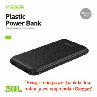 Power Bank VEGER 25000mAh V16 Slim 2 Port USB Output Original Garansi 1 Tahun