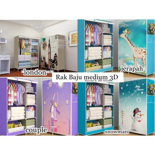 F029 Rak Baju Medium 3d / lemari baju cover / Multifunction Wardrobe