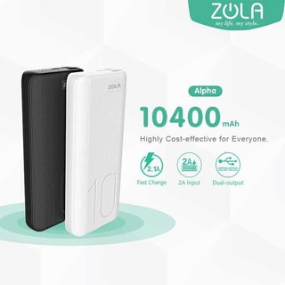 Powerbank ZOLA Alpha 10400mAh Fast Charge 2.1A Dua Output -White/Black