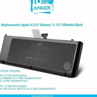 MEX121 APPLE MACBOOK PRO A1321 A1286 BATERAI ORIGINAL ANKER BATRE BATTERY *4