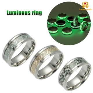 Luminous Dragon Pattern Ring Chinese Style Titanium Steel Ring for Men Women Hip Hop Jewelry