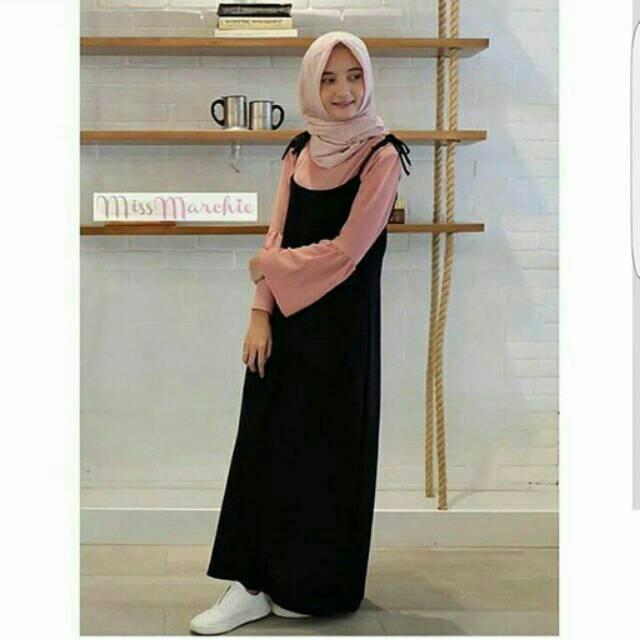 Zahira Set 2in1 vg Fashion Hijab Modern Atasan Wanita Hits Kekinian Dress Gamis