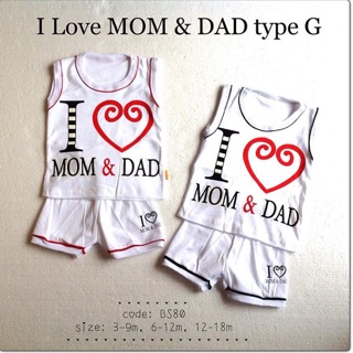 Setelan baju katung i love mom and dad