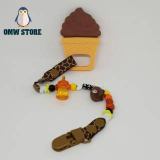 OMWSTORE Teether Ice Cream + Clip Mainan Gigitan Bayi Ice Cream