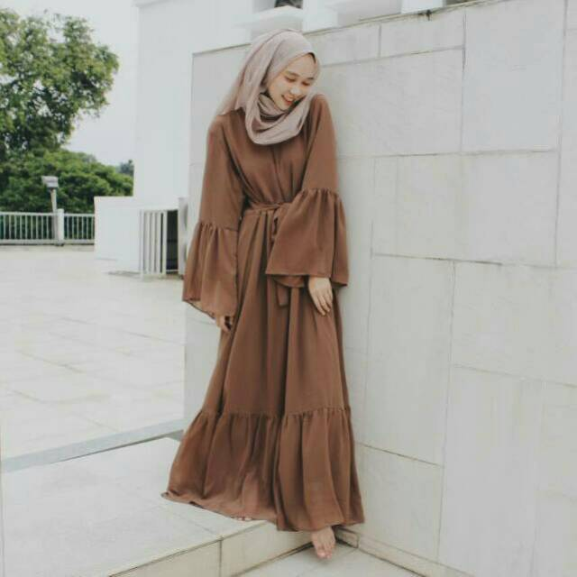 Pakaian Wanita Dress Maxi Gamis Chiffon Lengan Lonceng
