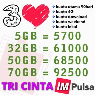 [TERMURAH] Paket Data Kuota Internet Tri Three 3 Cinta 50GB 70GB