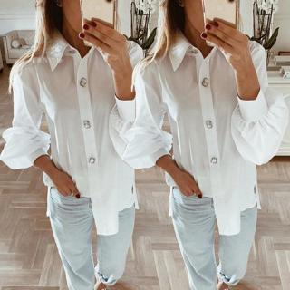 Ladies Tops Office Business Ladies Casual T-shirt Tee Long sleeve Lapel collar Button down