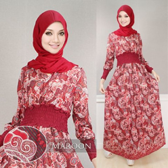 Jual Maxy Ayu SW pakaian wanita muslim maxy warna maroon Barang New