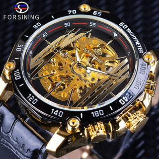COD Jam Tangan Pria FORSINING Openwork Quartz Gold Gear Otomatis Mechanical Anti Air Wrist Watch