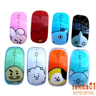 BTS BT21 Mouse nirkabel Wireless Mouse Notebook Desktop Computer Game Office Mouse