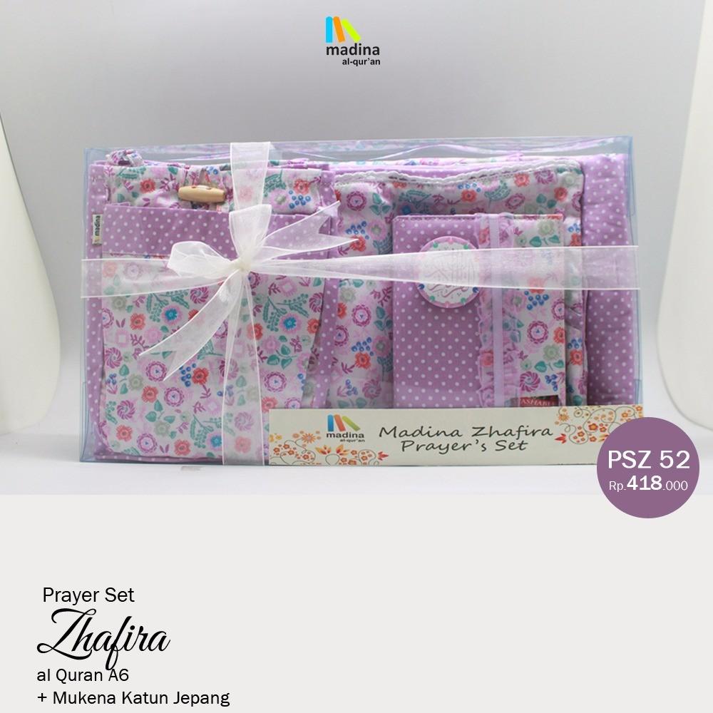 Paket Mukena Katun Jepang Set AlQuran Pink Bunga Prayer Madina Zhafira