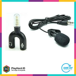 Clip On Mic Microphone 3.5mm Mikrophone Klip + Audio Splitter Gambar Paket Youtuber Vlog Smule